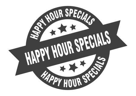 happy hour specials sign. happy hour specials black round ribbon sticker
