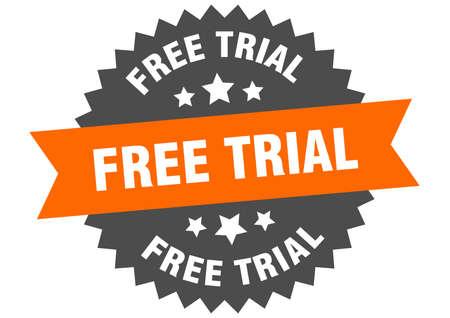 free trial sign. free trial orange-black circular band label Illustration