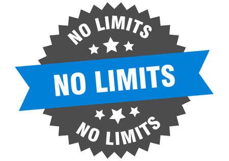 no limits sign. no limits blue-black circular band label