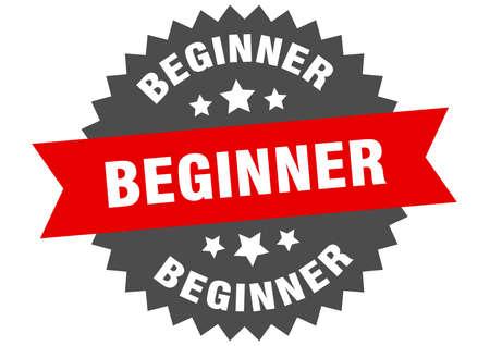 beginner sign. beginner red-black circular band label