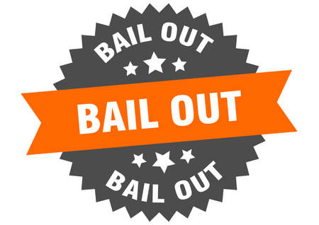 bail out sign. bail out orange-black circular band label