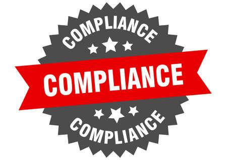 compliance sign. compliance red-black circular band label Illusztráció