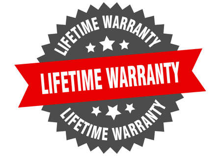 lifetime warranty sign. lifetime warranty red-black circular band label