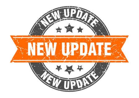 new update round stamp with orange ribbon. new update Stock Illustratie
