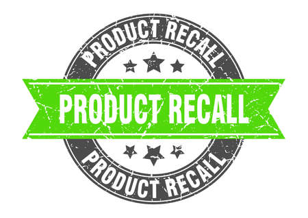 product recall round stamp with green ribbon. product recall