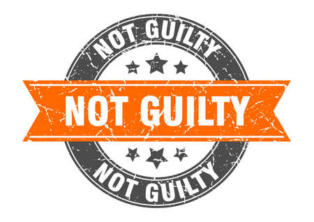 not guilty round stamp with orange ribbon. not guilty