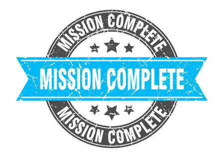 mission complete round stamp with turquoise ribbon. mission complete