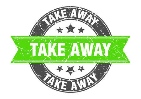 take away round stamp with green ribbon. take away Vetores