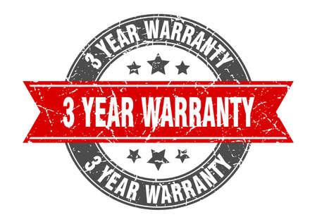 3 year warranty round stamp with red ribbon. 3 year warranty