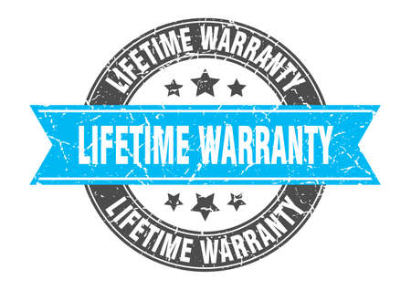 lifetime warranty round stamp with turquoise ribbon. lifetime warranty