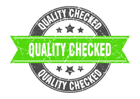 quality checked round stamp with green ribbon. quality checked Ilustrace