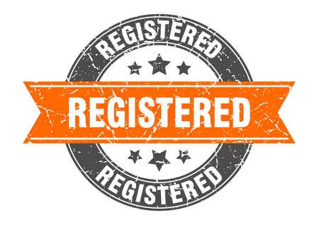 registered round stamp with orange ribbon. registered