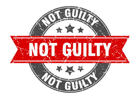 not guilty round stamp with red ribbon. not guilty  イラスト・ベクター素材