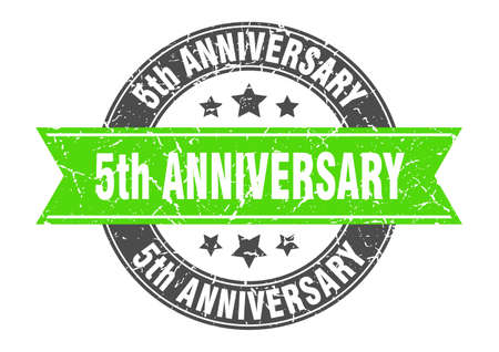 5th anniversary round stamp with green ribbon. 5th anniversary