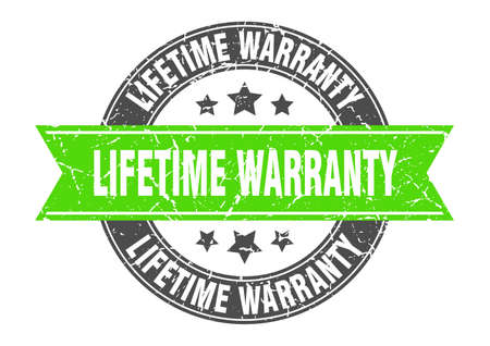 lifetime warranty round stamp with green ribbon. lifetime warranty Illustration