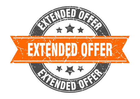 extended offer round stamp with orange ribbon. extended offer
