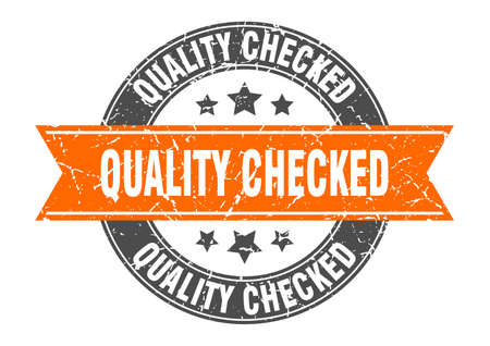 quality checked round stamp with orange ribbon. quality checked Ilustrace