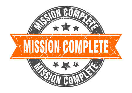 mission complete round stamp with orange ribbon. mission complete