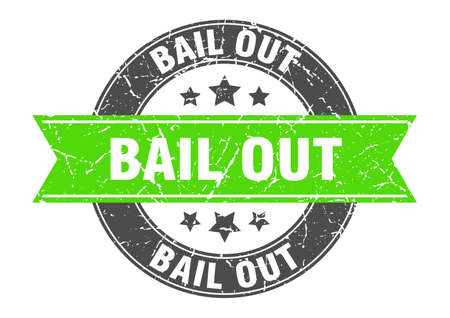 bail out round stamp with green ribbon. bail out