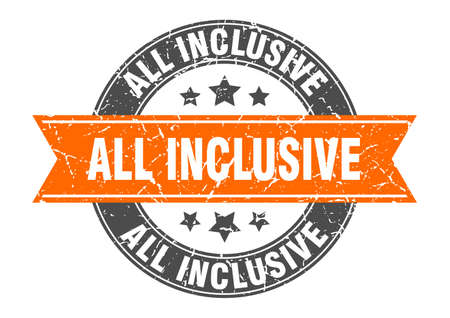 all inclusive round stamp with orange ribbon. all inclusive Illustration