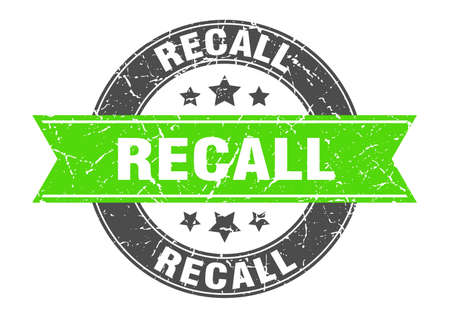 recall round stamp with green ribbon. recall