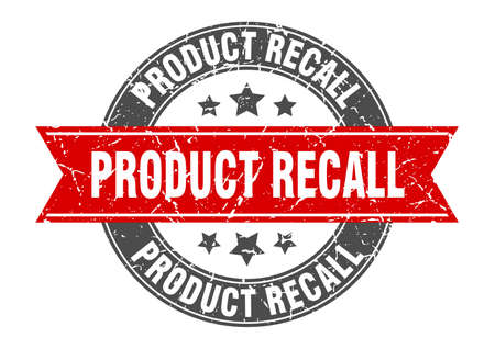 product recall round stamp with red ribbon. product recall