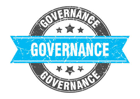 governance round stamp with turquoise ribbon. governance Çizim