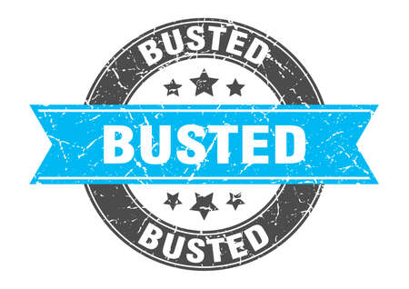 busted round stamp with turquoise ribbon. busted Illustration