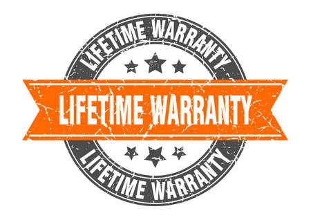 lifetime warranty round stamp with orange ribbon. lifetime warranty