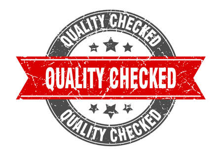 quality checked round stamp with red ribbon. quality checked
