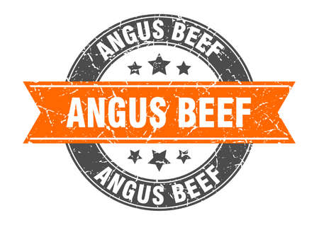 angus beef round stamp with orange ribbon. angus beef Иллюстрация