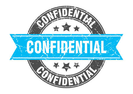 confidential round stamp with turquoise ribbon. confidential