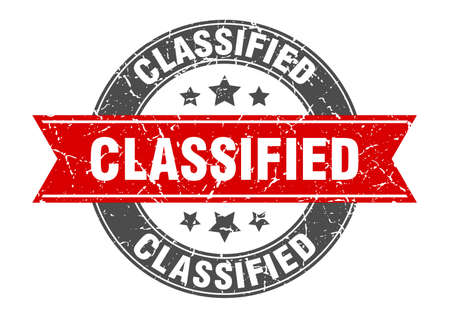 classified round stamp with red ribbon. classified