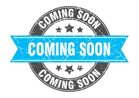 coming soon round stamp with turquoise ribbon. coming soon