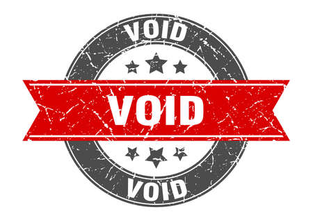 void round stamp with red ribbon. void