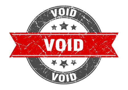 timbre rond nul avec ruban rouge. annuler Vecteurs