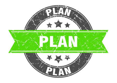 plan round stamp with green ribbon. plan Иллюстрация