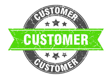 customer round stamp with green ribbon. customer Иллюстрация