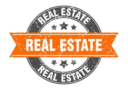 real estate round stamp with orange ribbon. real estate