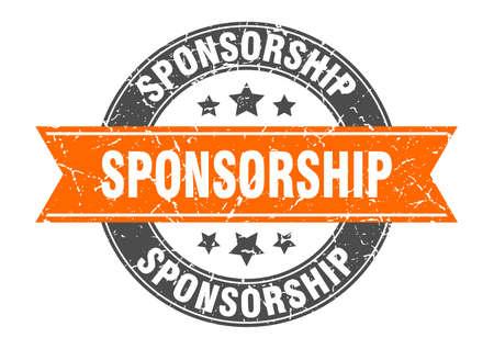 sponsorship round stamp with orange ribbon. sponsorship Иллюстрация