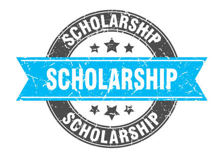 scholarship round stamp with turquoise ribbon. scholarship