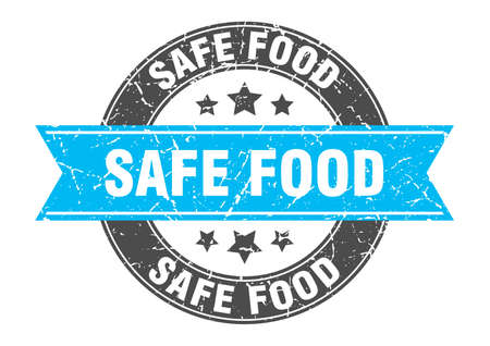 safe food round stamp with turquoise ribbon. safe food