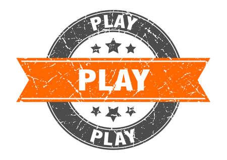 play round stamp with orange ribbon. play Иллюстрация