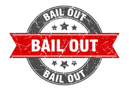 bail out round stamp with red ribbon. bail out