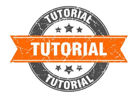 tutorial round stamp with orange ribbon. tutorial Иллюстрация