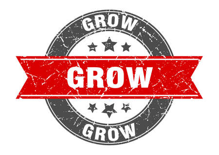 grow round stamp with red ribbon. grow