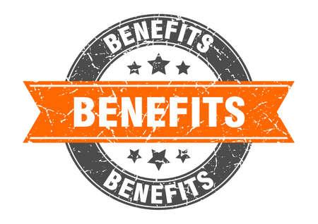 benefits round stamp with orange ribbon. benefits Иллюстрация