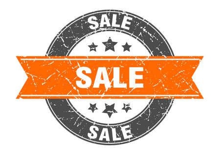 sale round stamp with orange ribbon. sale Иллюстрация