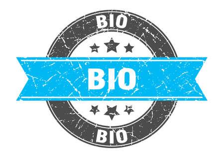 bio round stamp with turquoise ribbon. bio