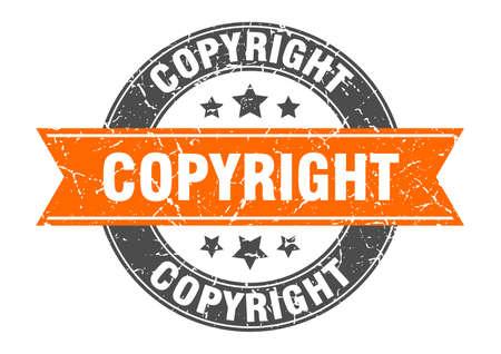 copyright round stamp with orange ribbon. copyright